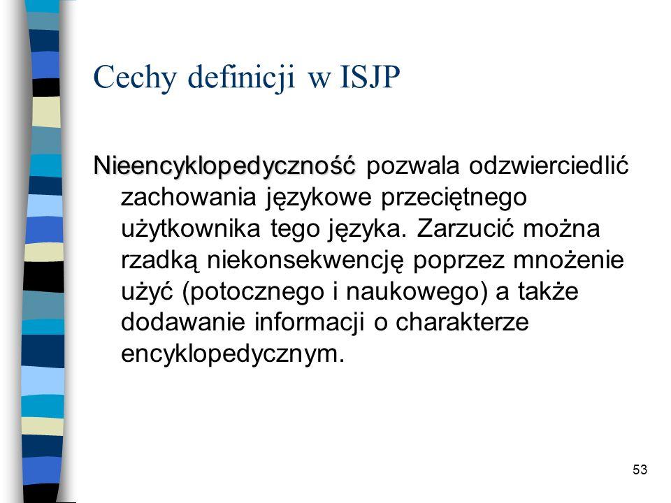 52 Cechy definicji w ISJP Burzyciel jakiegoś istniejącego stanu rzeczy to ktoś, kto zmienia go w sposób gwałtowny.