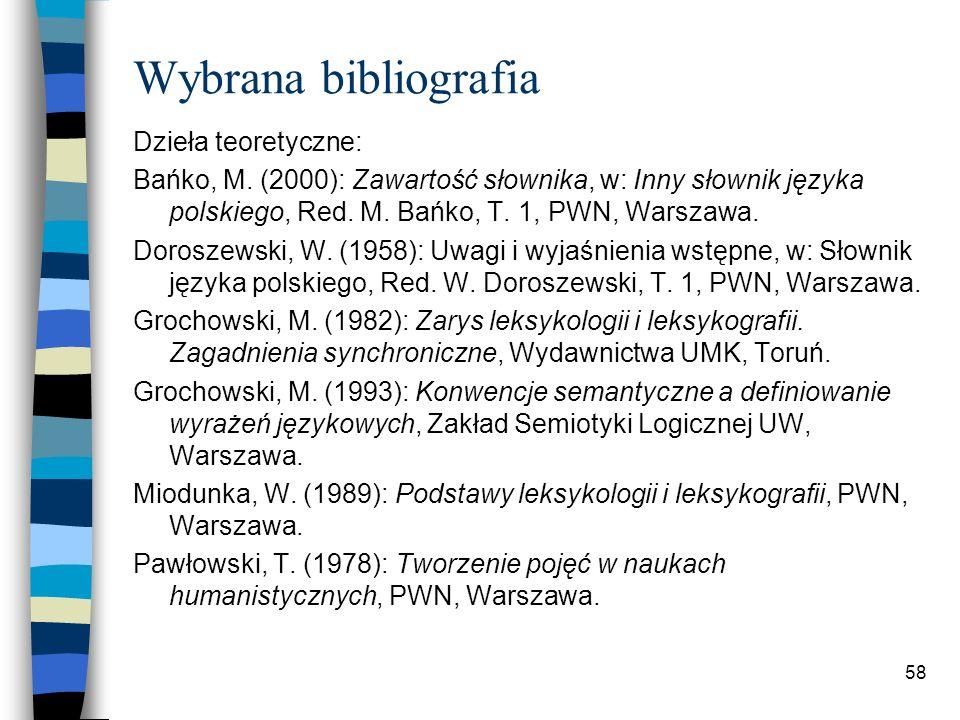 57 Wybrana bibliografia Słowniki: Inny słownik języka polskiego, Red.