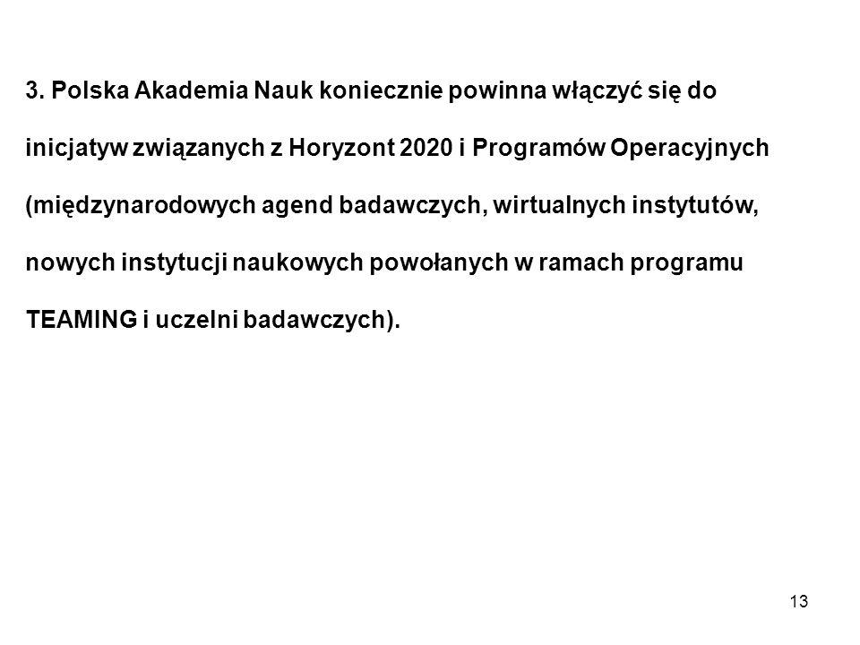 3. Polska Akademia Nauk koniecznie powinna włączyć się do inicjatyw związanych z Horyzont 2020 i Programów Operacyjnych (międzynarodowych agend badawc
