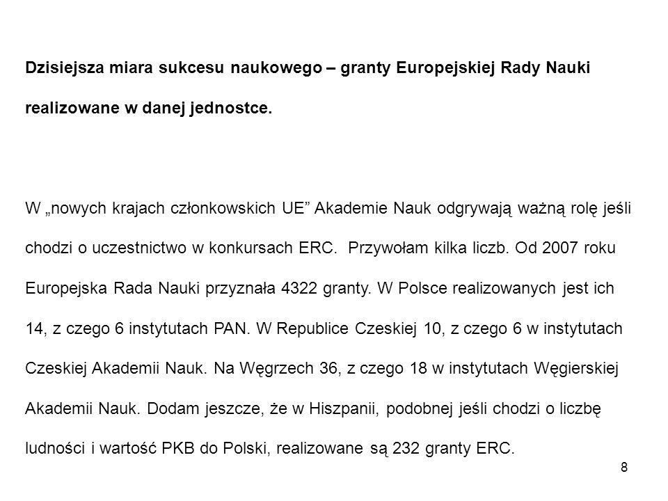 """Dzisiejsza miara sukcesu naukowego – granty Europejskiej Rady Nauki realizowane w danej jednostce. W """"nowych krajach członkowskich UE"""" Akademie Nauk o"""