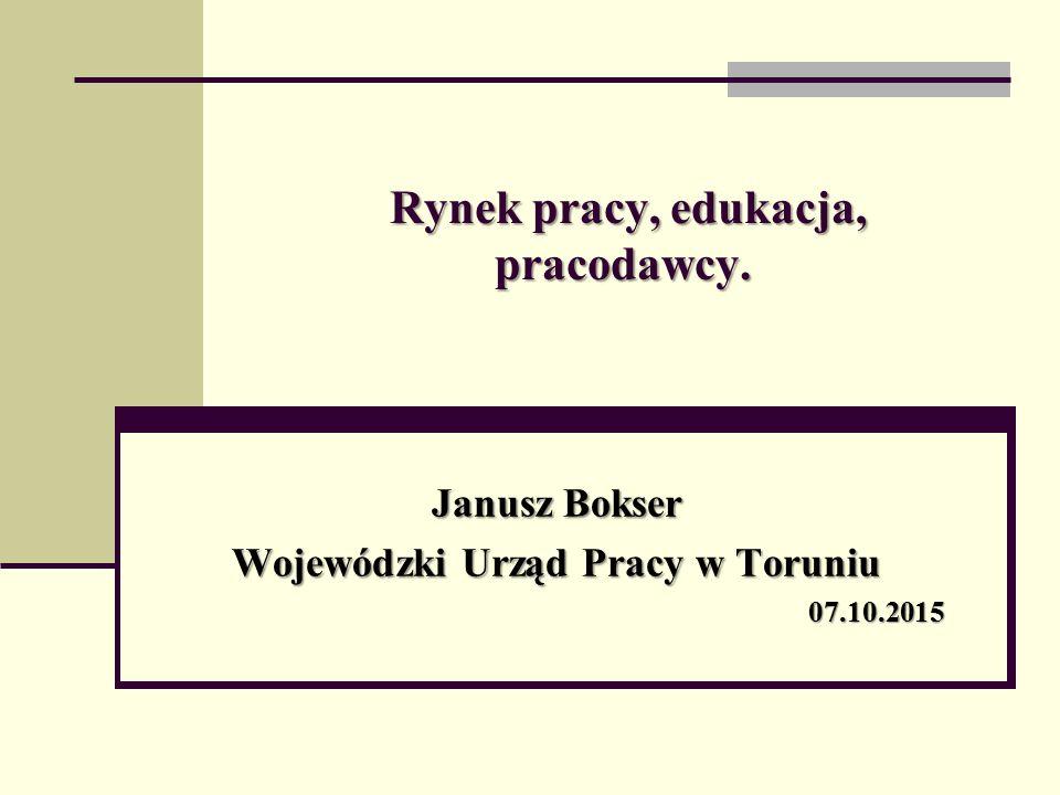 Rynek pracy, edukacja, pracodawcy. Janusz Bokser Wojewódzki Urząd Pracy w Toruniu 07.10.2015
