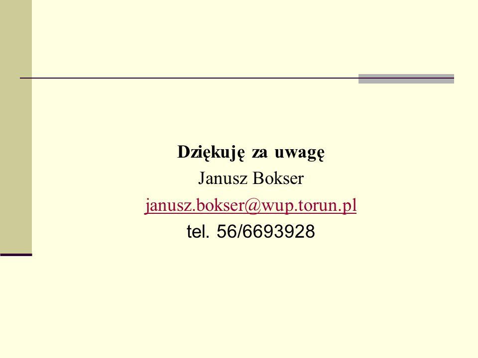 Dziękuję za uwagę Janusz Bokser janusz.bokser@wup.torun.pl tel. 56/6693928