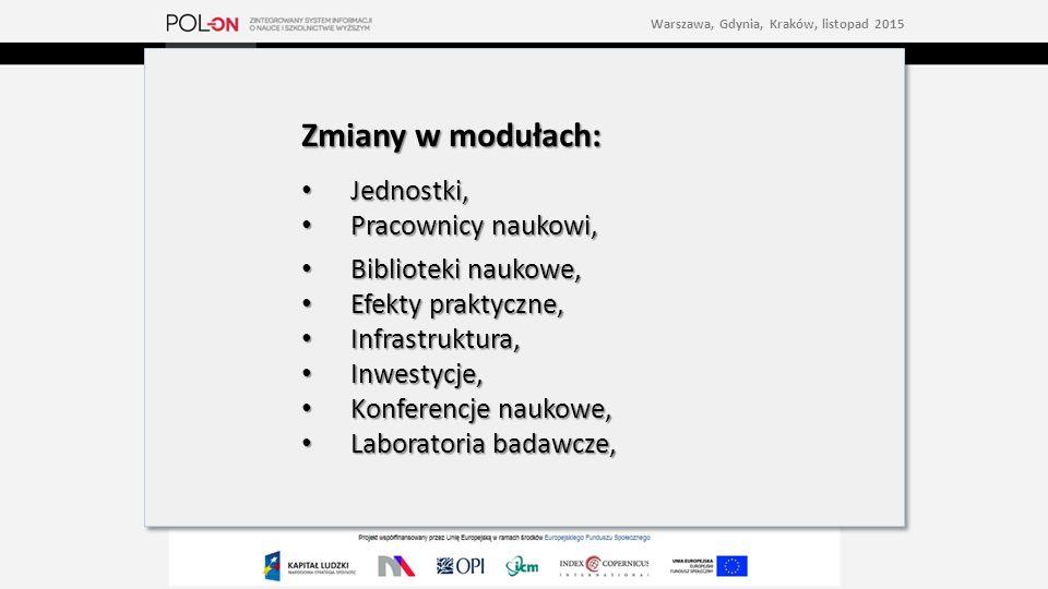 Zmiany w modułach: Jednostki, Jednostki, Pracownicy naukowi, Pracownicy naukowi, Biblioteki naukowe, Biblioteki naukowe, Efekty praktyczne, Efekty praktyczne, Infrastruktura, Infrastruktura, Inwestycje, Inwestycje, Konferencje naukowe, Konferencje naukowe, Laboratoria badawcze, Laboratoria badawcze, Zmiany w modułach: Jednostki, Jednostki, Pracownicy naukowi, Pracownicy naukowi, Biblioteki naukowe, Biblioteki naukowe, Efekty praktyczne, Efekty praktyczne, Infrastruktura, Infrastruktura, Inwestycje, Inwestycje, Konferencje naukowe, Konferencje naukowe, Laboratoria badawcze, Laboratoria badawcze, Warszawa, Gdynia, Kraków, listopad 2015