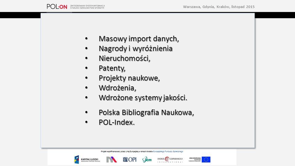 Masowy import danych, Masowy import danych, Nagrody i wyróżnienia Nagrody i wyróżnienia Nieruchomości, Nieruchomości, Patenty, Patenty, Projekty naukowe, Projekty naukowe, Wdrożenia, Wdrożenia, Wdrożone systemy jakości.