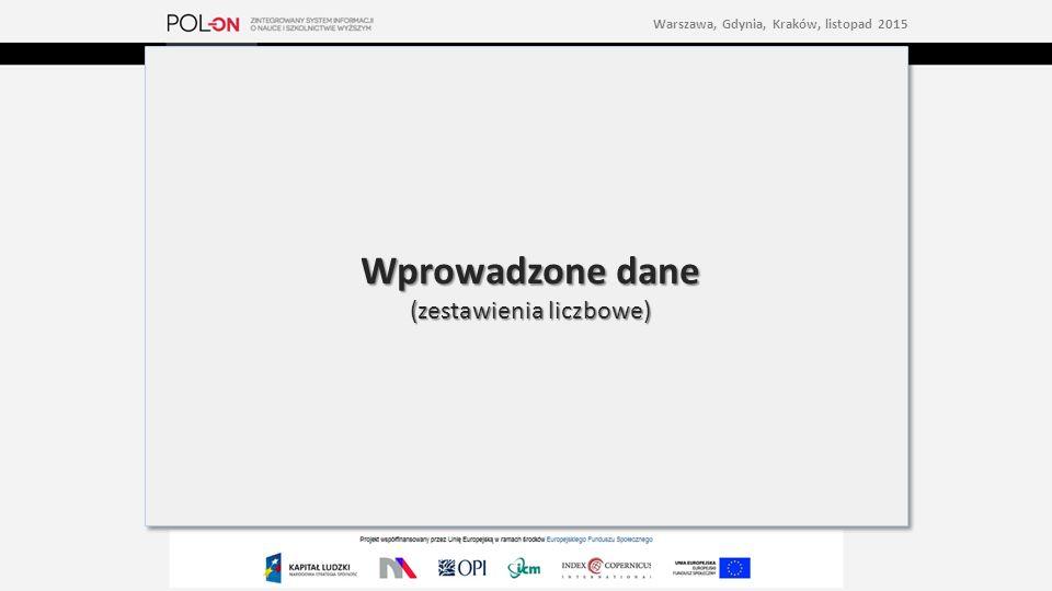 Wprowadzone dane (zestawienia liczbowe) Wprowadzone dane (zestawienia liczbowe) Warszawa, Gdynia, Kraków, listopad 2015