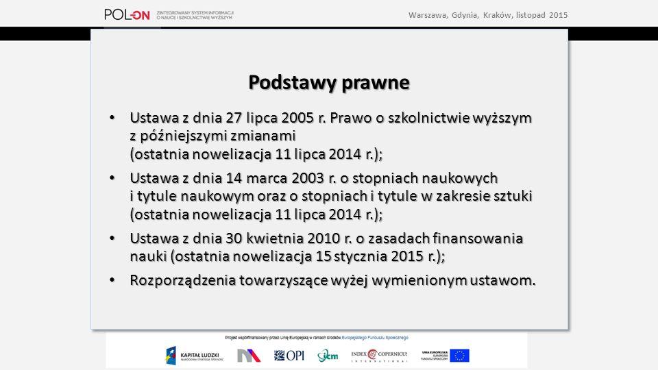 Warszawa, Gdynia, Kraków, listopad 2015 Podstawy prawne Ustawa z dnia 27 lipca 2005 r.