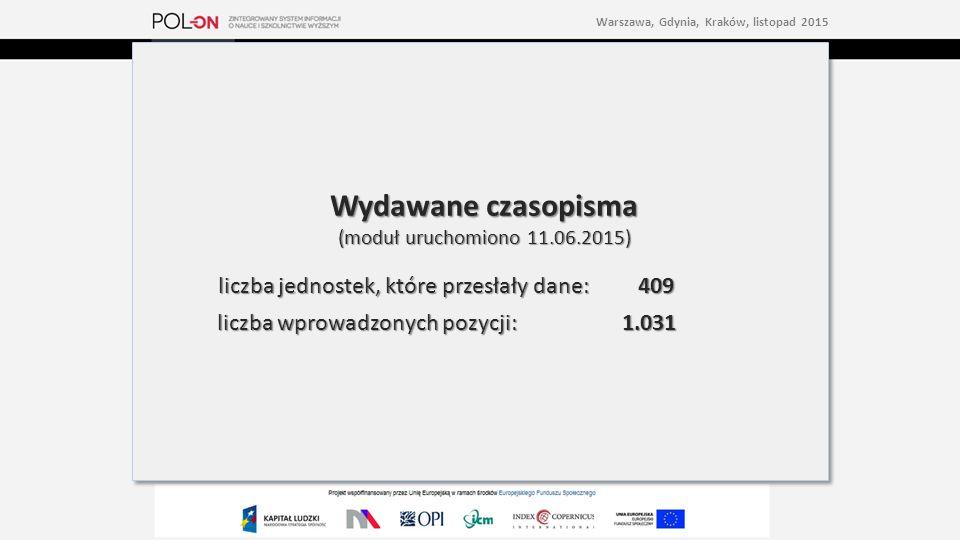 Wydawane czasopisma (moduł uruchomiono 11.06.2015) liczba jednostek, które przesłały dane: 409 liczba wprowadzonych pozycji:1.031 Wydawane czasopisma (moduł uruchomiono 11.06.2015) liczba jednostek, które przesłały dane: 409 liczba wprowadzonych pozycji:1.031 Warszawa, Gdynia, Kraków, listopad 2015