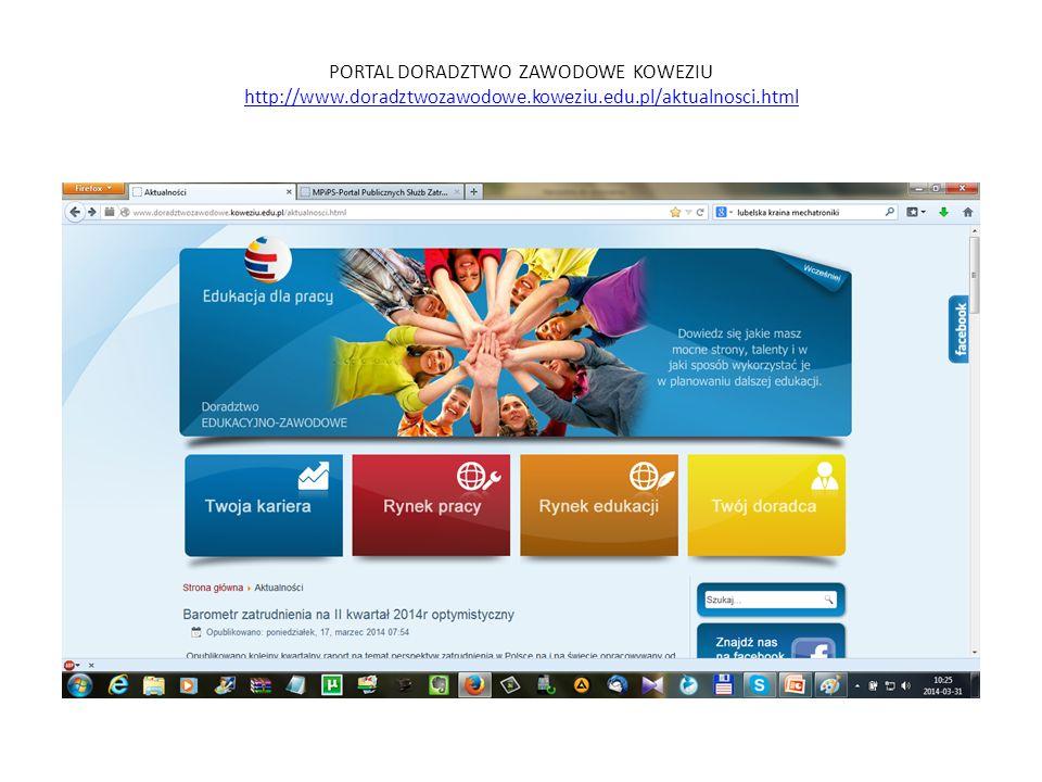 PORTAL DORADZTWO ZAWODOWE KOWEZIU http://www.doradztwozawodowe.koweziu.edu.pl/aktualnosci.html http://www.doradztwozawodowe.koweziu.edu.pl/aktualnosci.html