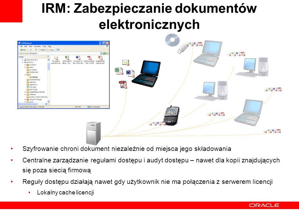 IRM: Zabezpieczanie dokumentów elektronicznych Szyfrowanie chroni dokument niezależnie od miejsca jego składowania Centralne zarządzanie regułami dostępu i audyt dostępu – nawet dla kopii znajdujących się poza siecią firmową Reguły dostępu działają nawet gdy użytkownik nie ma połączenia z serwerem licencji Lokalny cache licencji