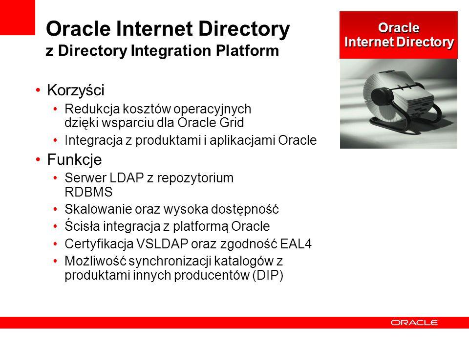 Oracle Internet Directory z Directory Integration Platform Korzyści Redukcja kosztów operacyjnych dzięki wsparciu dla Oracle Grid Integracja z produktami i aplikacjami Oracle Funkcje Serwer LDAP z repozytorium RDBMS Skalowanie oraz wysoka dostępność Ścisła integracja z platformą Oracle Certyfikacja VSLDAP oraz zgodność EAL4 Możliwość synchronizacji katalogów z produktami innych producentów (DIP) Oracle Internet Directory
