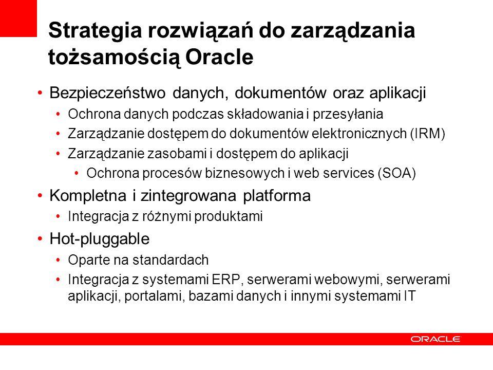Strategia rozwiązań do zarządzania tożsamością Oracle Bezpieczeństwo danych, dokumentów oraz aplikacji Ochrona danych podczas składowania i przesyłania Zarządzanie dostępem do dokumentów elektronicznych (IRM) Zarządzanie zasobami i dostępem do aplikacji Ochrona procesów biznesowych i web services (SOA) Kompletna i zintegrowana platforma Integracja z różnymi produktami Hot-pluggable Oparte na standardach Integracja z systemami ERP, serwerami webowymi, serwerami aplikacji, portalami, bazami danych i innymi systemami IT