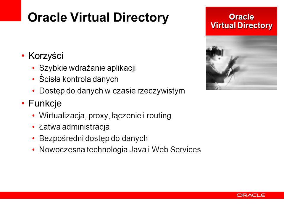Oracle Virtual Directory Korzyści Szybkie wdrażanie aplikacji Ścisła kontrola danych Dostęp do danych w czasie rzeczywistym Funkcje Wirtualizacja, proxy, łączenie i routing Łatwa administracja Bezpośredni dostęp do danych Nowoczesna technologia Java i Web Services Oracle Virtual Directory