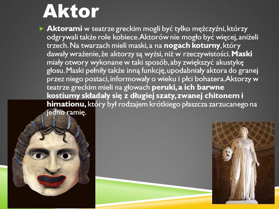 Aktor  Aktorami w teatrze greckim mogli być tylko mężczyźni, którzy odgrywali także role kobiece.