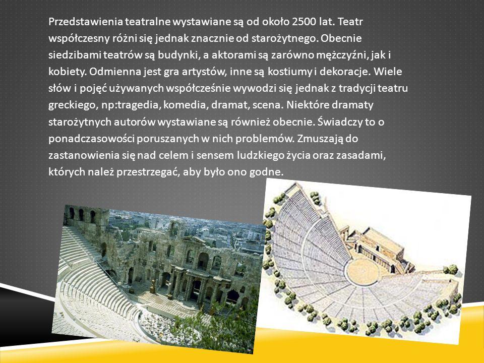 Przedstawienia teatralne wystawiane są od około 2500 lat.