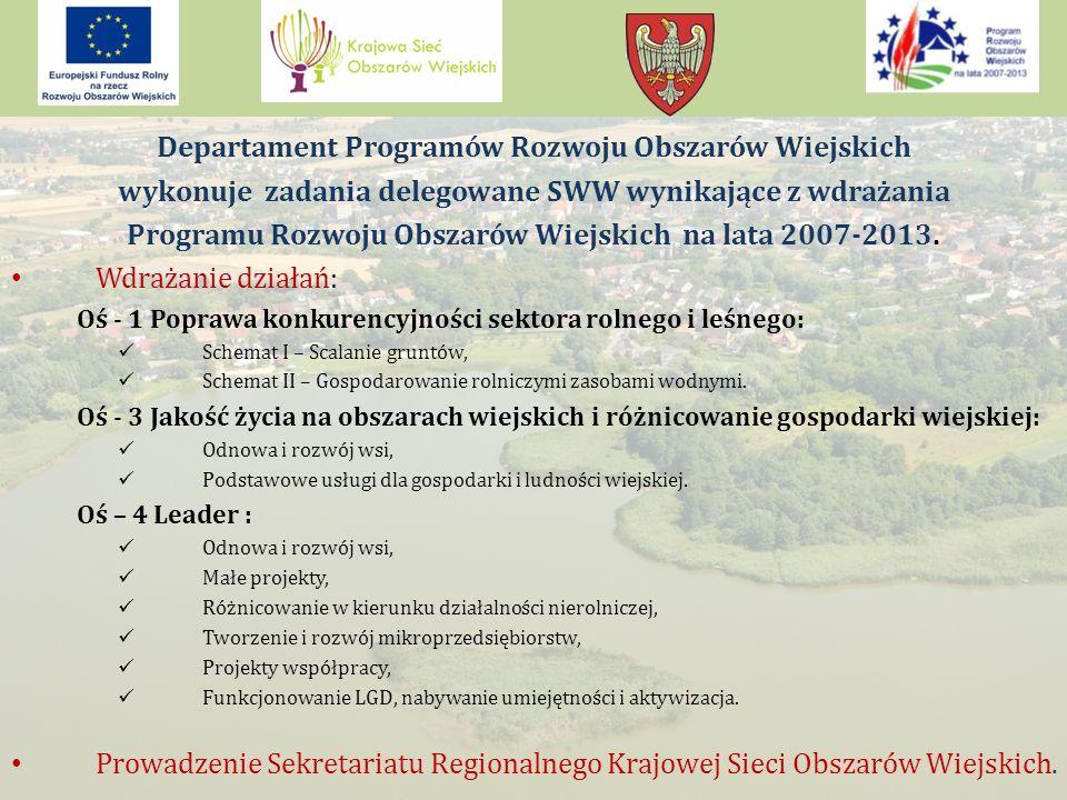 Departament Programów Rozwoju Obszarów Wiejskich wykonuje zadania delegowane SWW wynikające z wdrażania Programu Rozwoju Obszarów Wiejskich na lata 2007-2013.