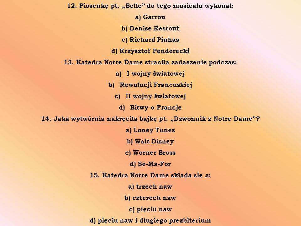 12. Piosenkę pt.