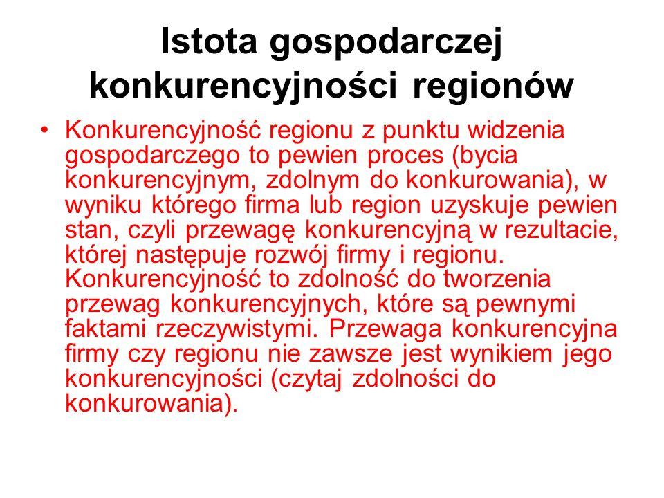 Istota gospodarczej konkurencyjności regionów Konkurencyjność regionu z punktu widzenia gospodarczego to pewien proces (bycia konkurencyjnym, zdolnym