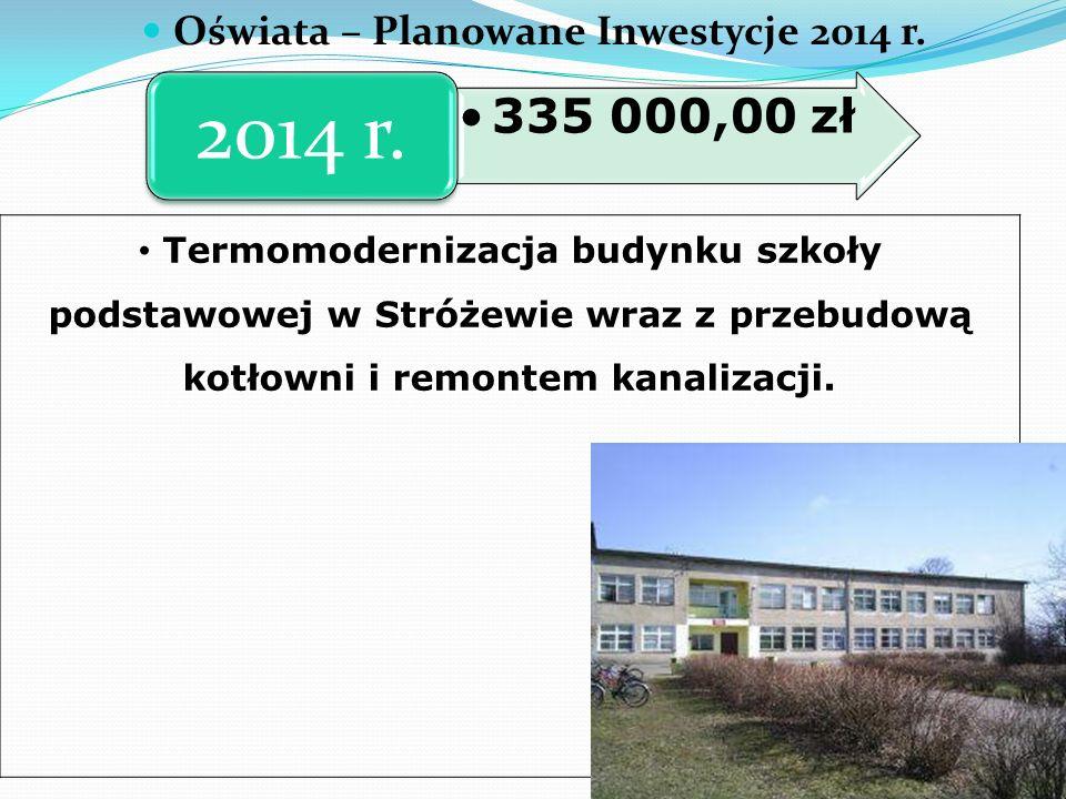 Oświata – Planowane Inwestycje 2014 r.