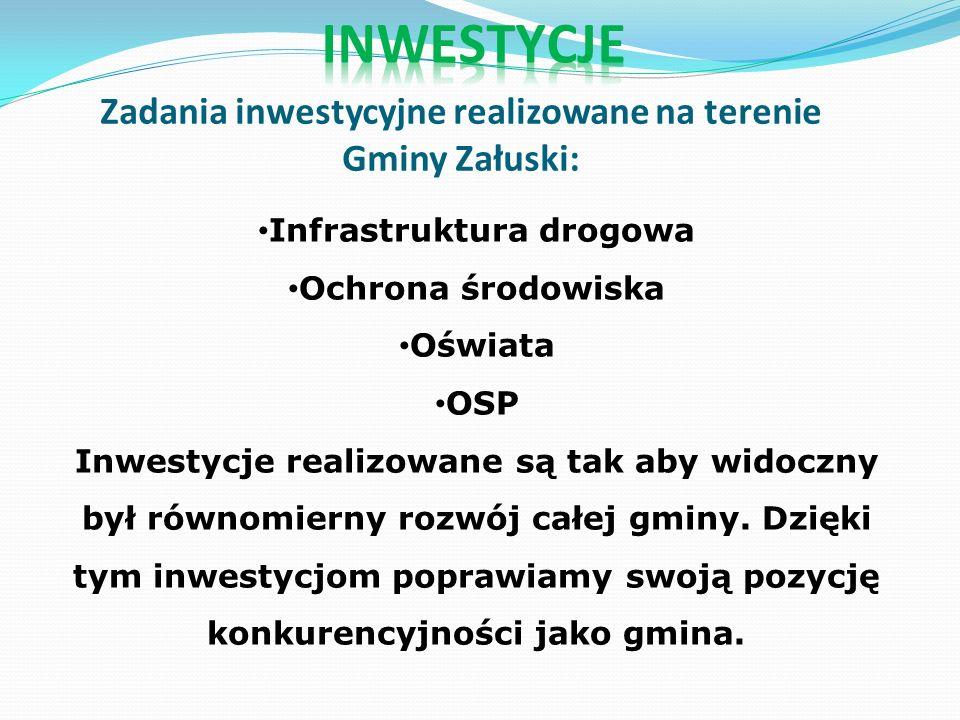 Zadania inwestycyjne realizowane na terenie Gminy Załuski: Infrastruktura drogowa Ochrona środowiska Oświata OSP Inwestycje realizowane są tak aby widoczny był równomierny rozwój całej gminy.