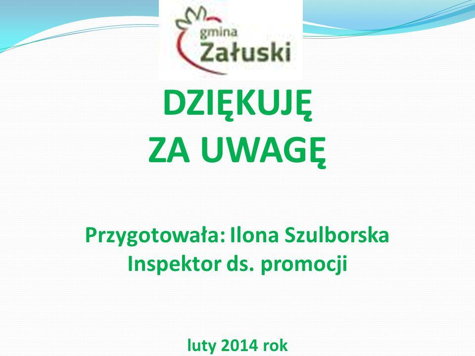 DZIĘKUJĘ ZA UWAGĘ Przygotowała: Ilona Szulborska Inspektor ds. promocji luty 2014 rok