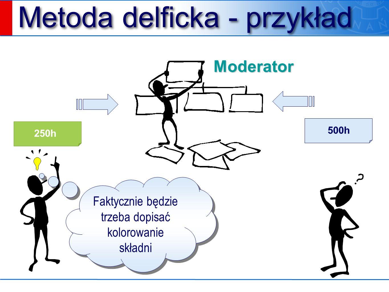 Metoda delficka - przykład Moderator 250h 500h Faktycznie będzie trzeba dopisać kolorowanie składni