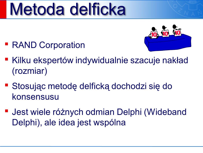 Metoda delficka 1.Eksperci dostają specyfikację systemu i formularz estymacyjny.
