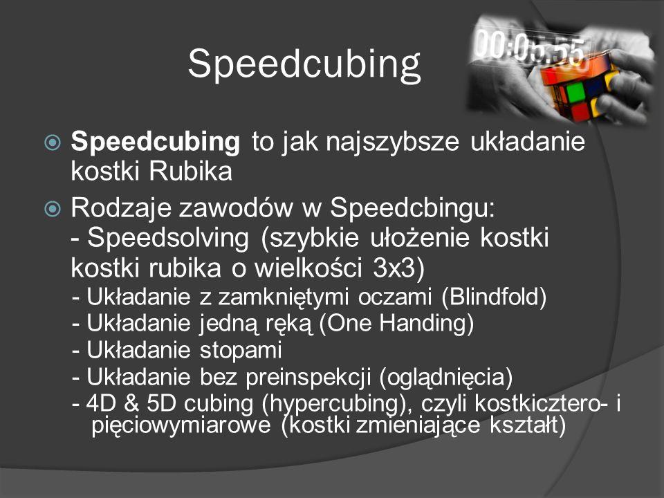 Speedcubing  Speedcubing to jak najszybsze układanie kostki Rubika  Rodzaje zawodów w Speedcbingu: - Speedsolving (szybkie ułożenie kostki kostki rubika o wielkości 3x3) - Układanie z zamkniętymi oczami (Blindfold) - Układanie jedną ręką (One Handing) - Układanie stopami - Układanie bez preinspekcji (oglądnięcia) - 4D & 5D cubing (hypercubing), czyli kostkicztero- i pięciowymiarowe (kostki zmieniające kształt)