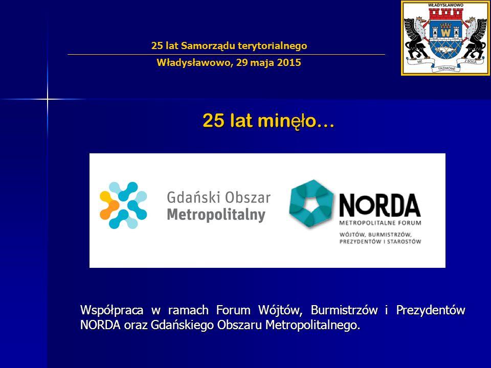 25 lat min ęł o… Współpraca w ramach Forum Wójtów, Burmistrzów i Prezydentów NORDA oraz Gdańskiego Obszaru Metropolitalnego.