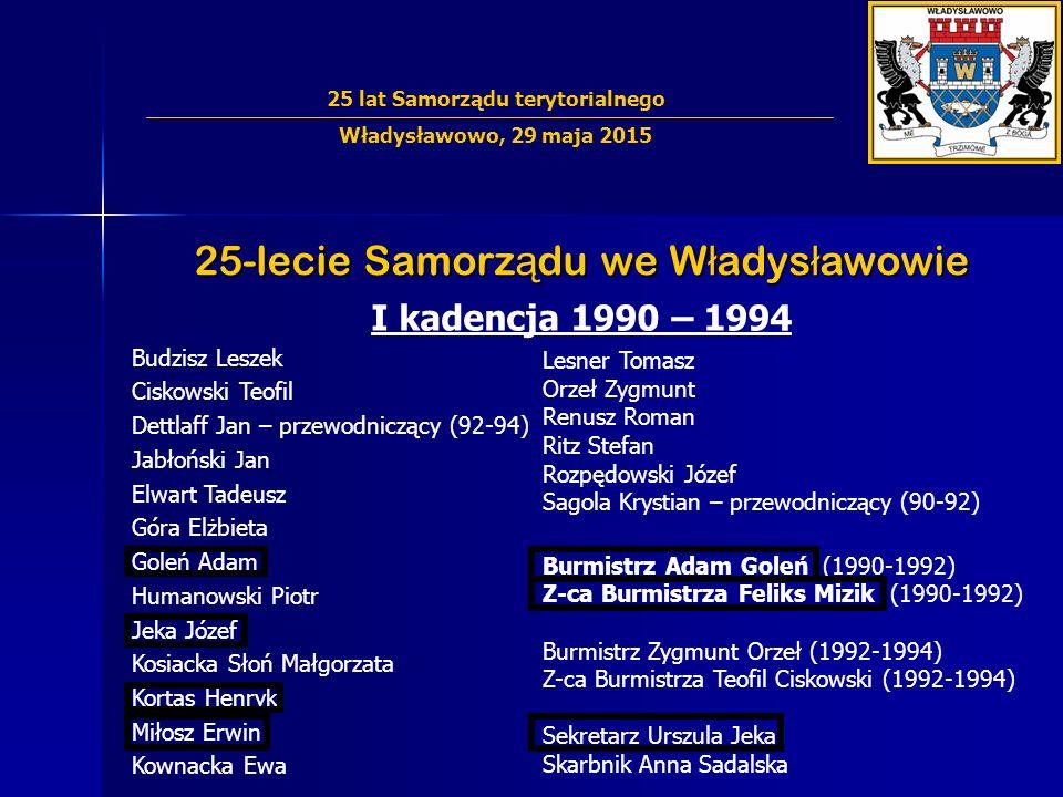 25-lecie Samorz ą du we W ł adys ł awowie I kadencja 1990 – 1994 Budzisz Leszek Ciskowski Teofil Dettlaff Jan – przewodniczący (92-94) Jabłoński Jan E