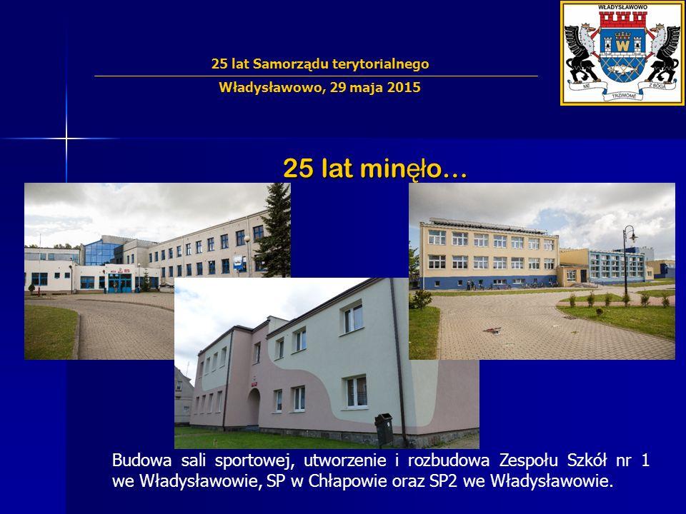 25 lat min ęł o… Budowa sali sportowej, utworzenie i rozbudowa Zespołu Szkół nr 1 we Władysławowie, SP w Chłapowie oraz SP2 we Władysławowie. 25 lat S