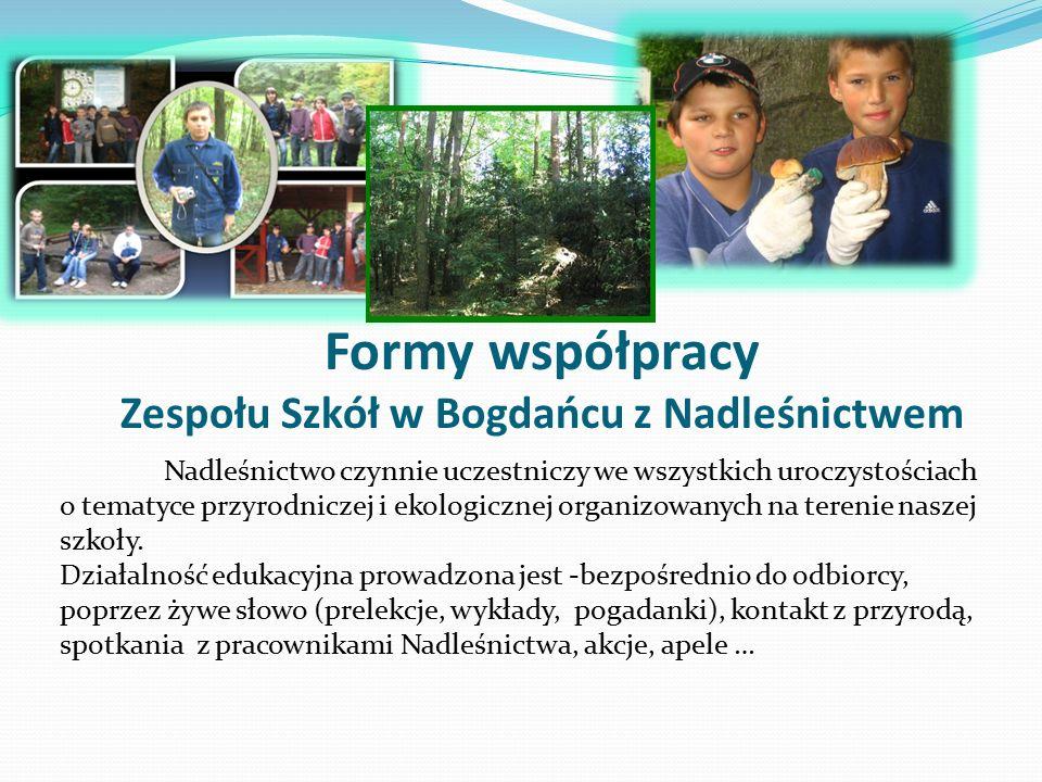 Formy współpracy Zespołu Szkół w Bogdańcu z Nadleśnictwem Nadleśnictwo czynnie uczestniczy we wszystkich uroczystościach o tematyce przyrodniczej i ekologicznej organizowanych na terenie naszej szkoły.