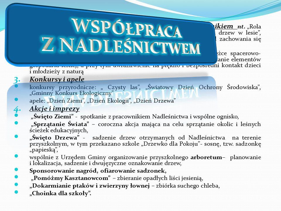 1. Edukacja kameralna prowadzenie lekcji wspólnie z leśnikiem nt.
