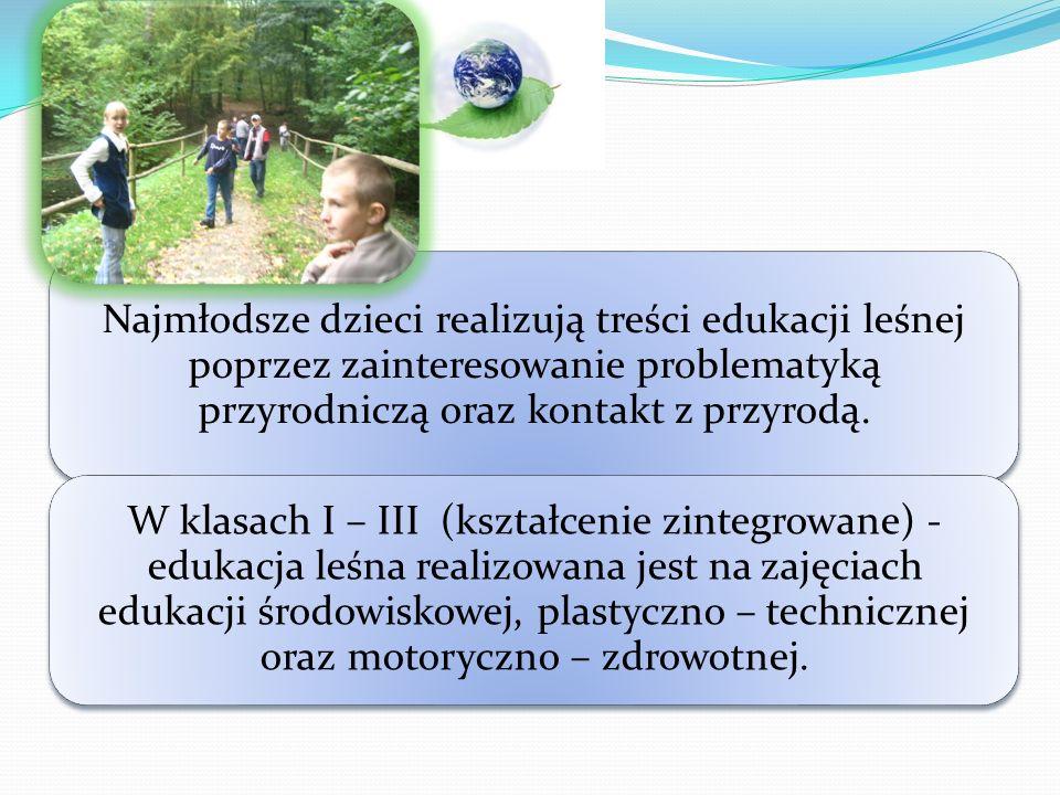 Najmłodsze dzieci realizują treści edukacji leśnej poprzez zainteresowanie problematyką przyrodniczą oraz kontakt z przyrodą.