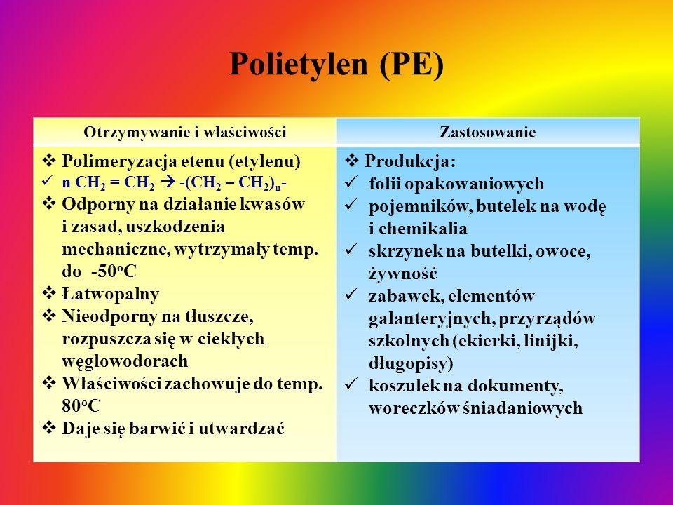 Polietylen (PE) Otrzymywanie i właściwościZastosowanie  Polimeryzacja etenu (etylenu) n CH 2 = CH 2  -(CH 2 – CH 2 ) n -  Odporny na działanie kwas