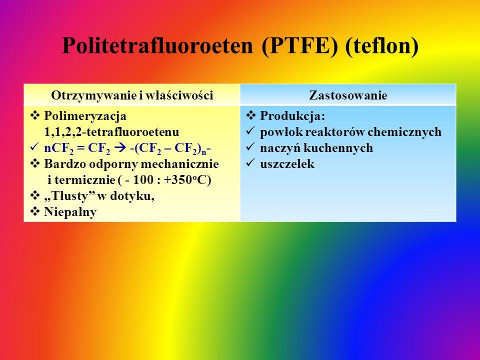 Politetrafluoroeten (PTFE) (teflon) Otrzymywanie i właściwościZastosowanie  Polimeryzacja 1,1,2,2-tetrafluoroetenu nCF 2 = CF 2  -(CF 2 – CF 2 ) n -