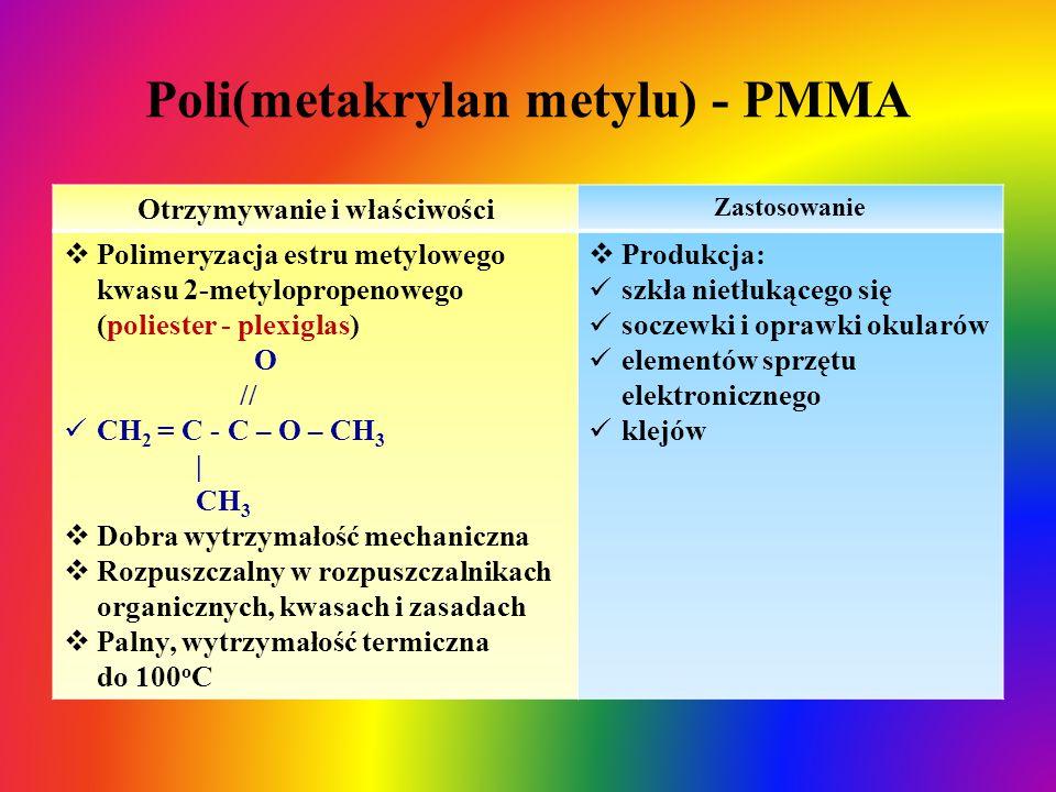 Poli(metakrylan metylu) - PMMA Otrzymywanie i właściwości Zastosowanie  Polimeryzacja estru metylowego kwasu 2-metylopropenowego (poliester - plexigl