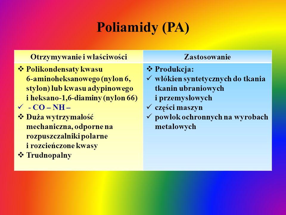 Poliamidy (PA) Otrzymywanie i właściwościZastosowanie  Polikondensaty kwasu 6-aminoheksanowego (nylon 6, stylon) lub kwasu adypinowego i heksano-1,6-