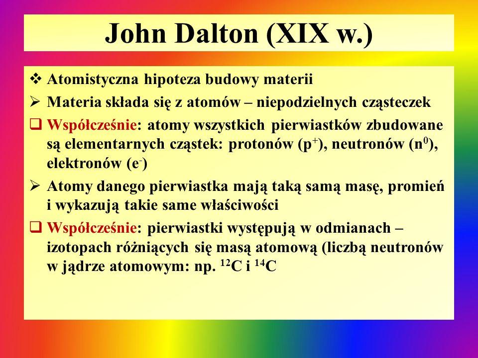 John Dalton (XIX w.)  Atomistyczna hipoteza budowy materii  Materia składa się z atomów – niepodzielnych cząsteczek  Współcześnie: atomy wszystkich