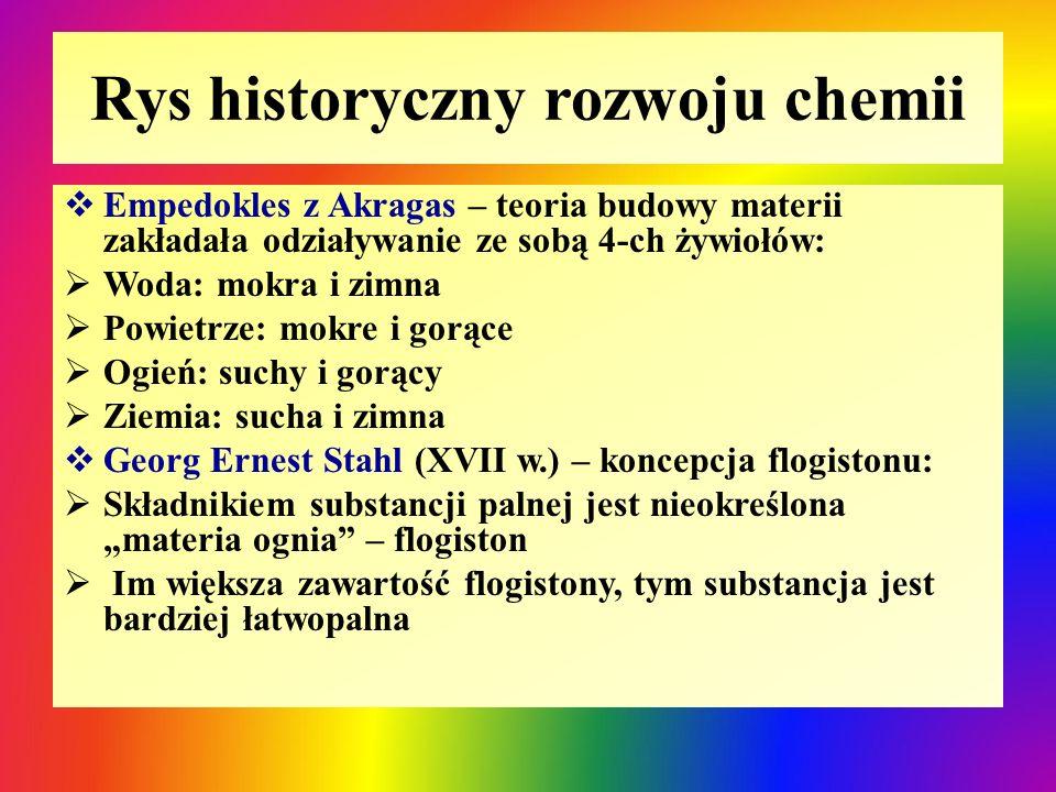 Rys historyczny rozwoju chemii  Empedokles z Akragas – teoria budowy materii zakładała odziaływanie ze sobą 4-ch żywiołów:  Woda: mokra i zimna  Po