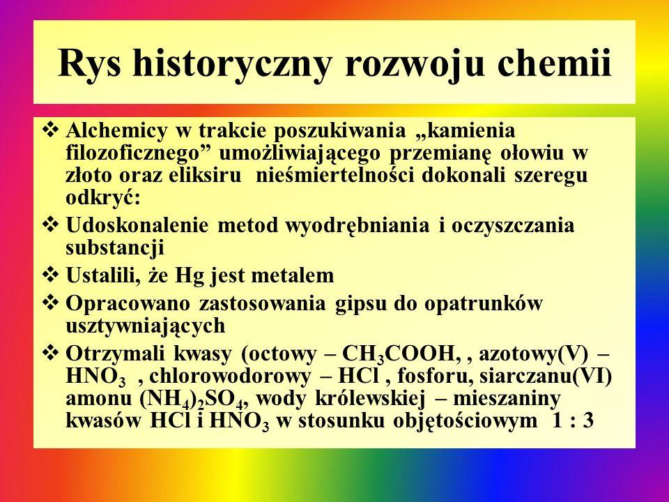 """Rys historyczny rozwoju chemii  Alchemicy w trakcie poszukiwania """"kamienia filozoficznego"""" umożliwiającego przemianę ołowiu w złoto oraz eliksiru nie"""