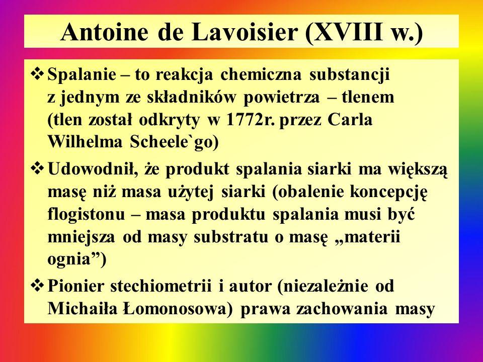 Antoine de Lavoisier (XVIII w.)  Spalanie – to reakcja chemiczna substancji z jednym ze składników powietrza – tlenem (tlen został odkryty w 1772r. p