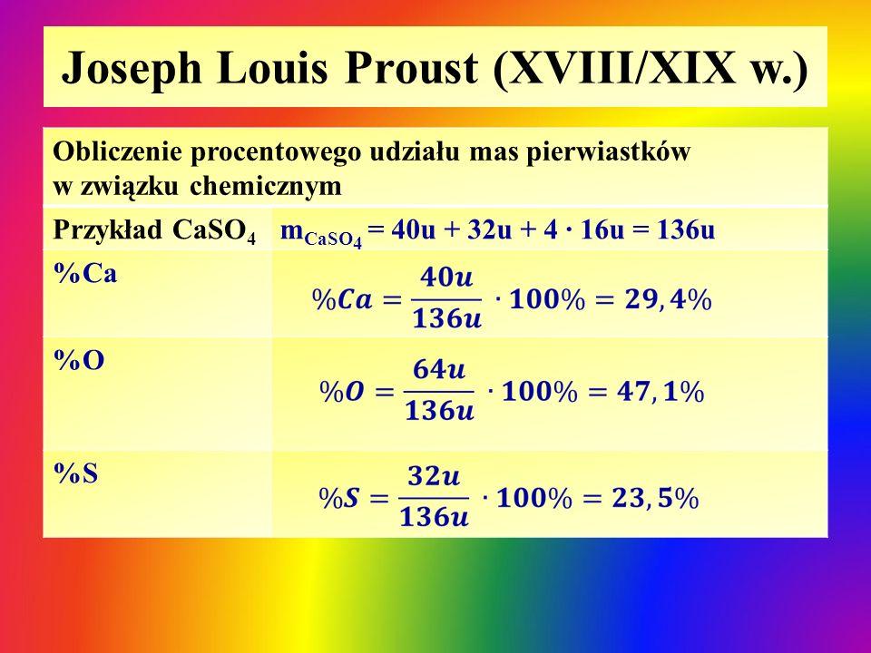 Joseph Louis Proust (XVIII/XIX w.) Obliczenie procentowego udziału mas pierwiastków w związku chemicznym Przykład CaSO 4 m CaSO 4 = 40u + 32u + 4 ∙ 16