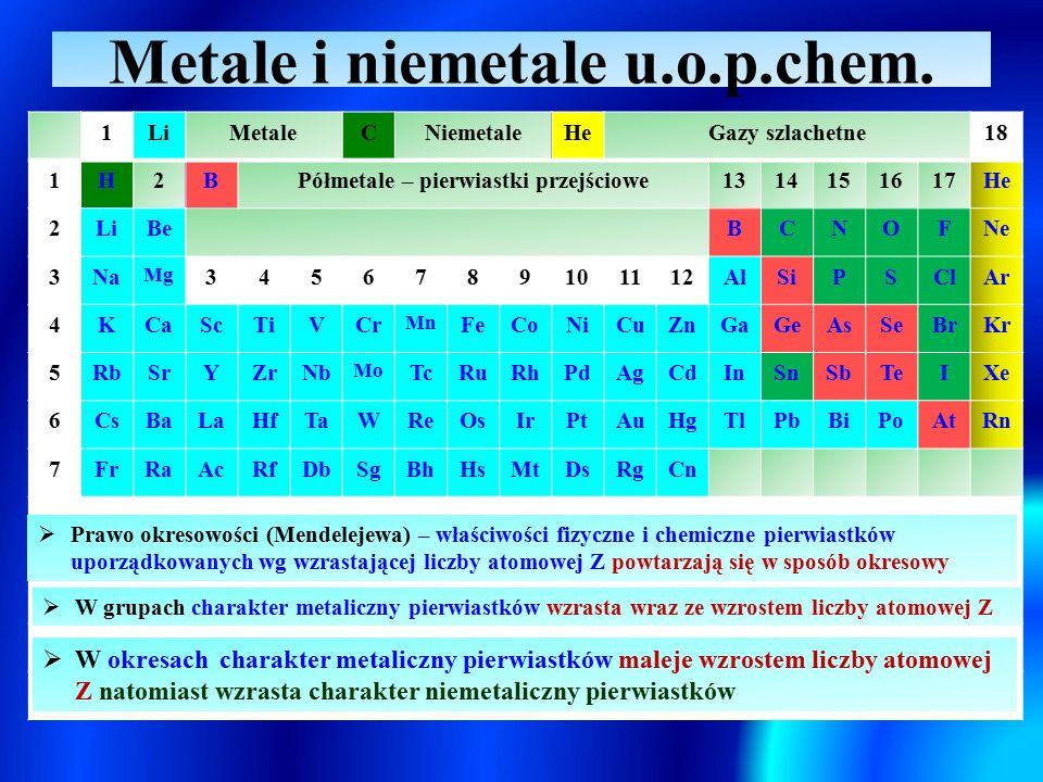 Metale i niemetale u.o.p.chem. 1LiMetaleCNiemetaleHeGazy szlachetne18 1H2BPółmetale – pierwiastki przejściowe1314151617He 2LiBeBCNOFNe 3Na Mg 34567891