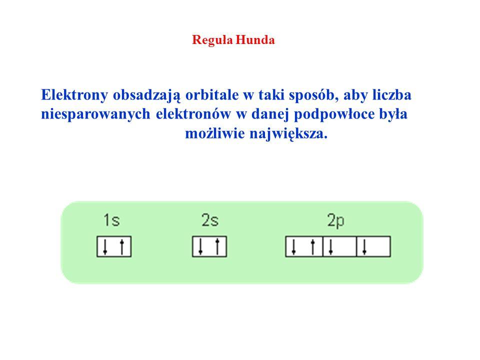 Reguła Hunda Elektrony obsadzają orbitale w taki sposób, aby liczba niesparowanych elektronów w danej podpowłoce była możliwie największa.