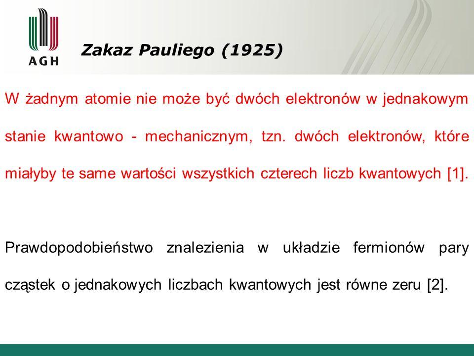Zakaz Pauliego (1925) W żadnym atomie nie może być dwóch elektronów w jednakowym stanie kwantowo - mechanicznym, tzn.