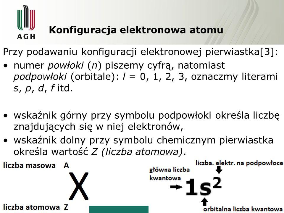 Konfiguracja elektronowa atomu Przy podawaniu konfiguracji elektronowej pierwiastka[3]: numer powłoki (n) piszemy cyfrą, natomiast podpowłoki (orbitale): l = 0, 1, 2, 3, oznaczmy literami s, p, d, f itd.