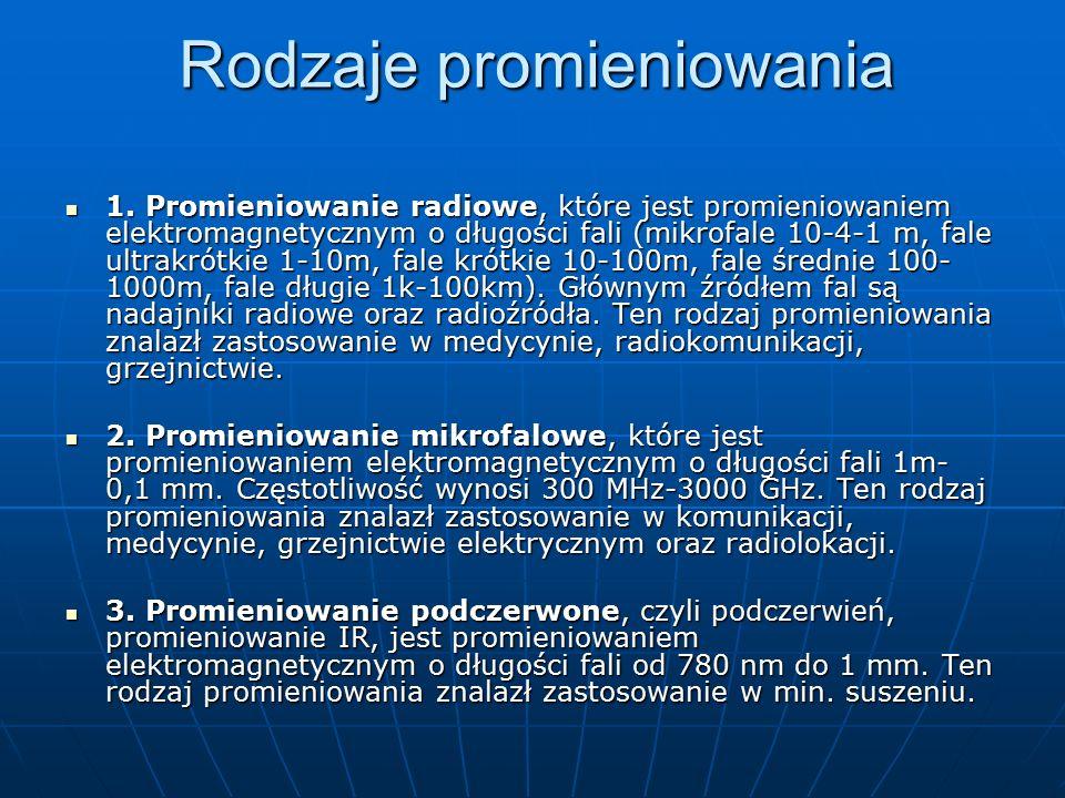 Rodzaje promieniowania 1. Promieniowanie radiowe, które jest promieniowaniem elektromagnetycznym o długości fali (mikrofale 10-4-1 m, fale ultrakrótki