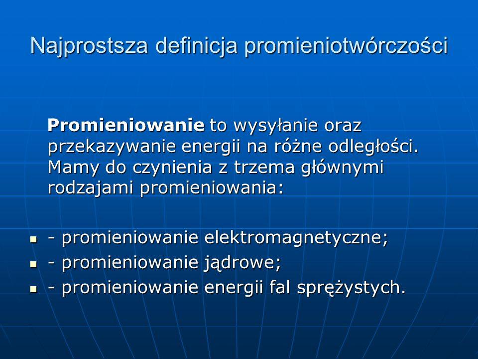 Najprostsza definicja promieniotwórczości Promieniowanie to wysyłanie oraz przekazywanie energii na różne odległości.