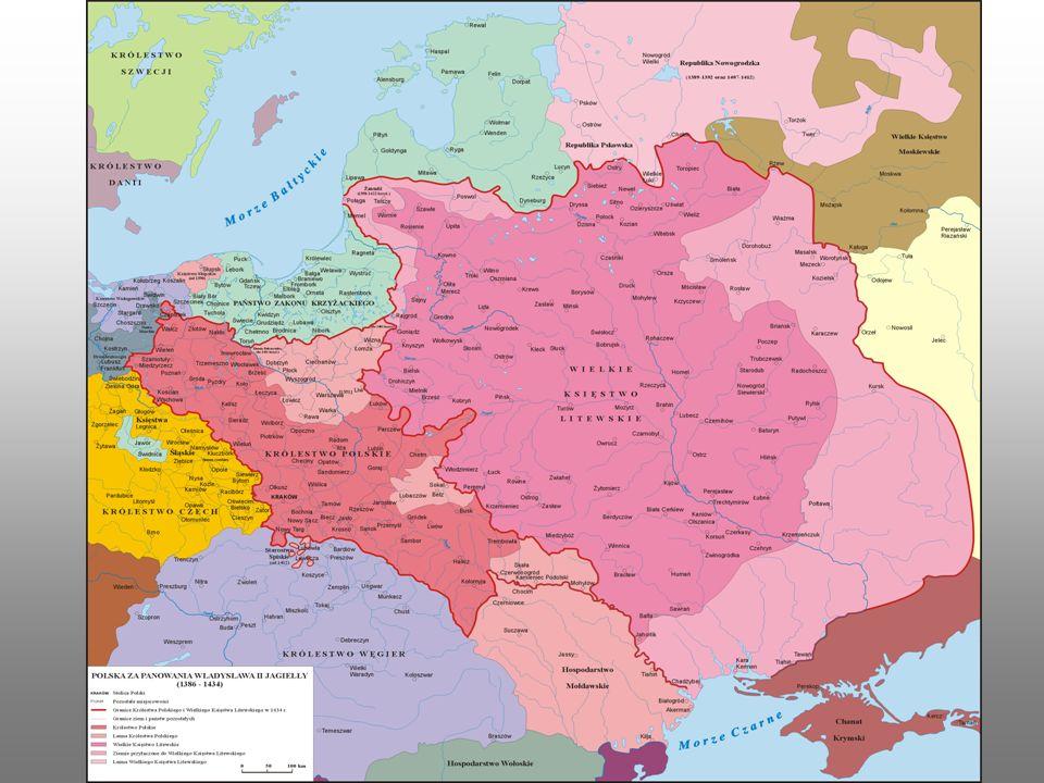 Bitwa pod Grunwaldem Powstałe z ziem Królestwa Polskiego i Wielkiego Księstwa Litewskiego państwo stało się największym w ówczesnej Europie.