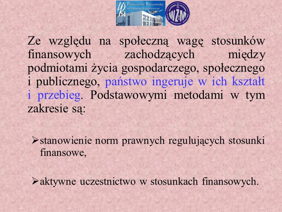 Ze względu na społeczną wagę stosunków finansowych zachodzących między podmiotami życia gospodarczego, społecznego i publicznego, państwo ingeruje w i